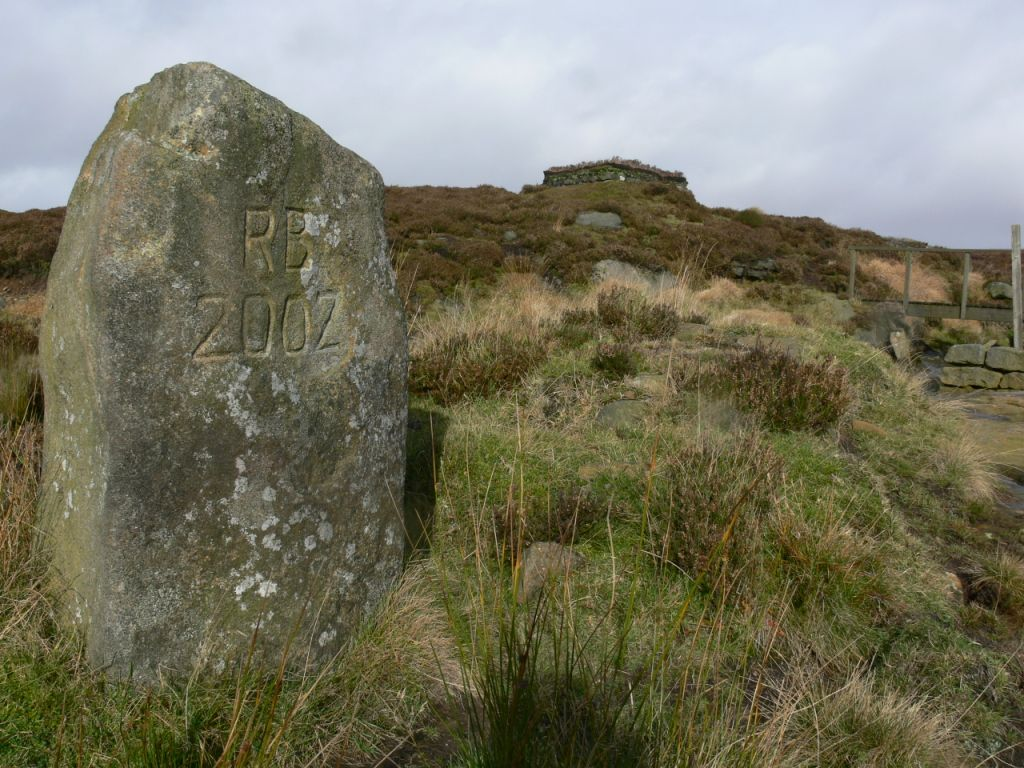 Why are the initials of the biodiversity Minister on this stone? Or are they the proud initials of the owner of Walshaw moor?