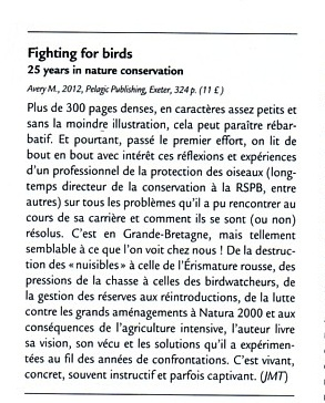 Fighting for Birds French review in Ornithos