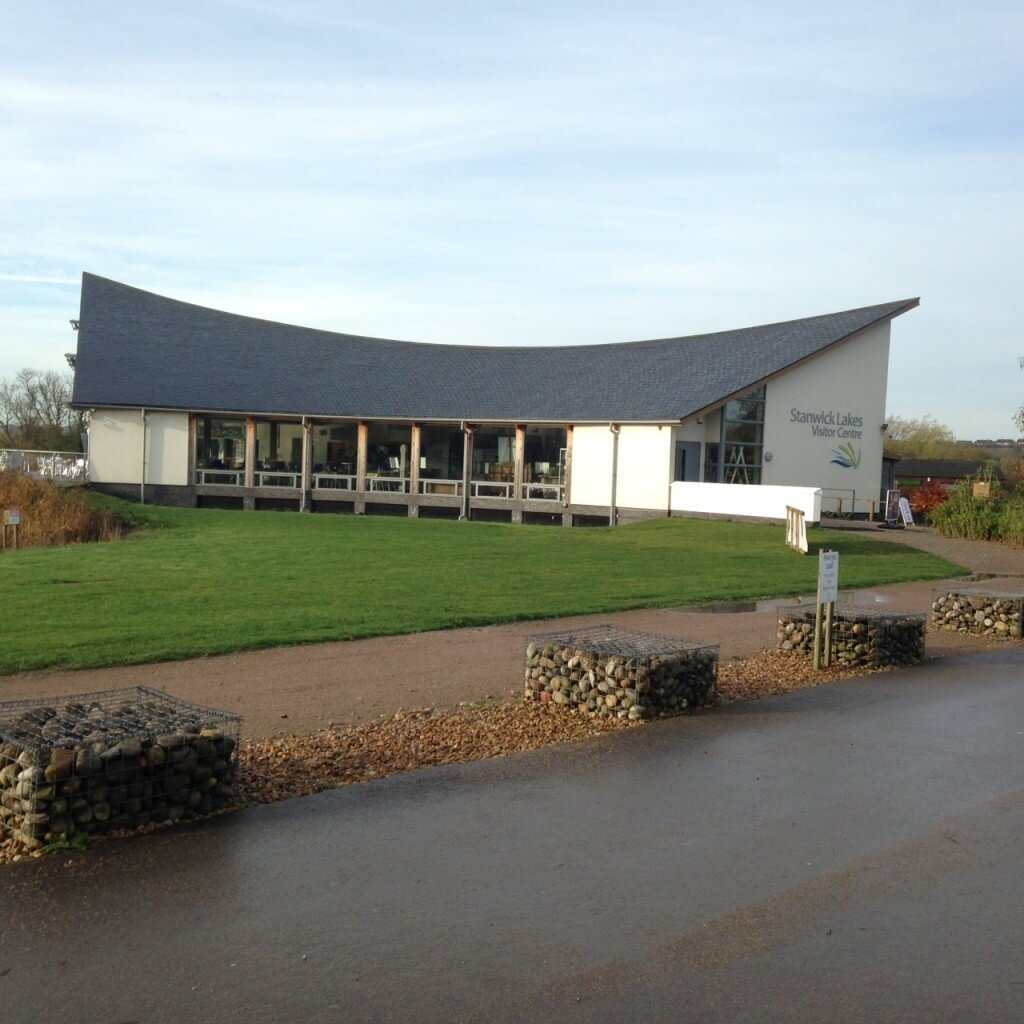 Stanwick Lakes visitor centre at the end of my walk (c1015). If I had taken a photo at the beginning too (c0745) the grass and roof would both have been frosted. Home of an excellent bacon sandwich - but not for me today.