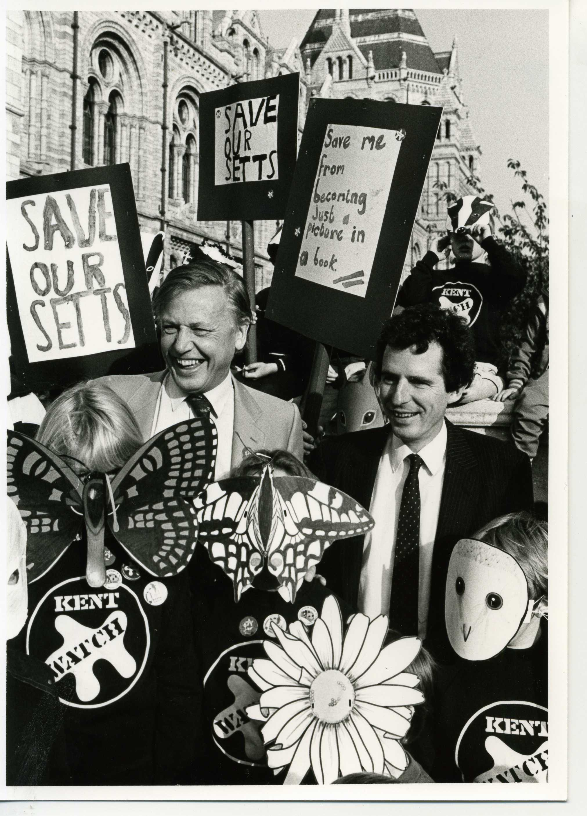1985 with environmentMinister William Waldegrave and Badger supporters. How times change... Photo: the Wildlife Trusts