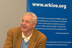 Wildscreen's photograph of David Attenborough at ARKive's launch in Bristol, England © May 2003 [CC BY 2.5 (http://creativecommons.org/licenses/by/2.5)], via Wikimedia Commons